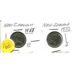 2 New Zealand One Shilling Coins 1967 and 1970