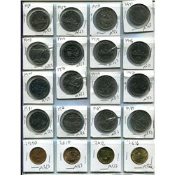 Sheet of 20 Canadian One Dollar Coins - 1918-1985, 1990, 2010, 2012, 2016