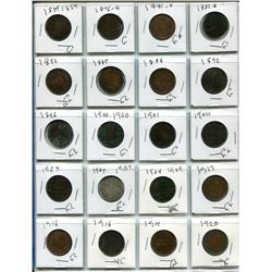 Sheet of 20 Canadian One Cent Coins - 1885-1920