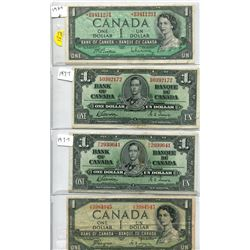 1954 (x2) and 1937 (x2) Bank of Canada One Dollar Bills - Asterisk in Front of the Serial Number