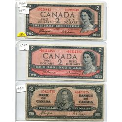 1954 (x2) and 1937 Bank of Canada 2 Dollar Bills