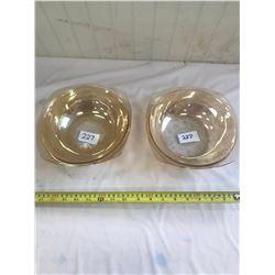 """2x Flora Gold - Depression Glass Bowls 8"""" - No Chips or Cracks"""