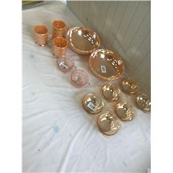 """Lot of Peach Lusterware, 2-8"""" Bowls, 3 Cups, 2 Pink Depi Cups, and 3 Nappies (Have Chips)"""