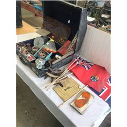 Accordian Case Full of Collectibles - Toys, Signs, Scale, Candle Holder, Flags, etc.