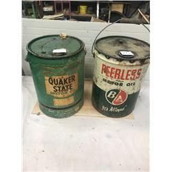 2x 5 Gallon Oil Pails - B/A and Quaker State