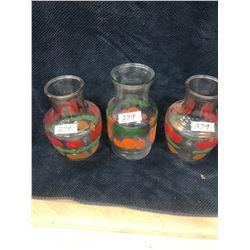 """3x Retro Glass Juice Jugs (2- 8"""" Tall, 1- 9"""" Tall)"""