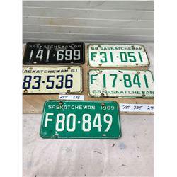 5x 1960's License Plates - Sask (1960,61,64,66,69)