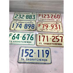 7x 1970's Sask. License Plates (1970-76)