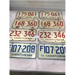 4x Matched Sets Sask. License Plates (1971,73,75,76)