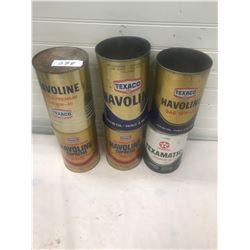 6 Texaco Oil Tins