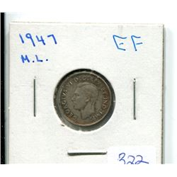 1947 Maple Leaf 10 Cents EF