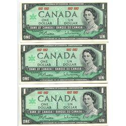 Lot of 3 1867-1967 Centennial Dollars