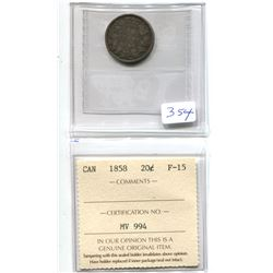1858 Canada 20 Cents ICCS Certified F-15 - RARE