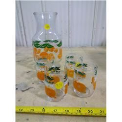 Vintage Orange Juice Container and 4 Glasses