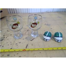 Sask. Roughriders Salt & Pepper and 2 Rough Rider Glasses