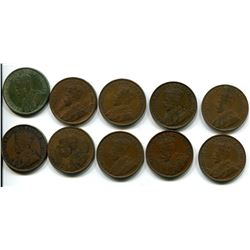 Lot of 10 King George V One Cents 1917-1918-1919