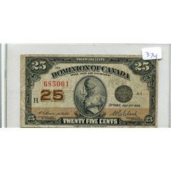 Shinplaster 1923 Canada 25 Cent Campbell/Clark Signatures