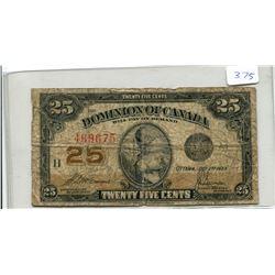 Shinplaster 1923 Canada 25 Cents McCavour/Saunders Signatures