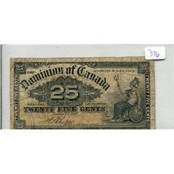 Shinplaster 1900 Canada 25 Cents Boville Signature