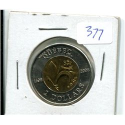 Quebec Toonie 1608-2008 (Hard to Find)