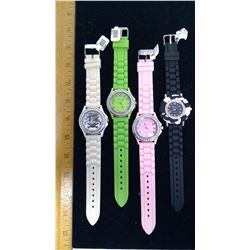 4 Assorted Watches with Rubbers Straps - Soft Pink, Black, White, and Lime Green