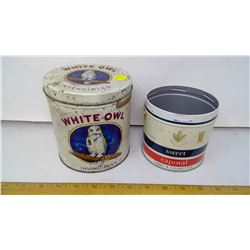 White Owl Invincibles and Sweet Caporal Cigarette Tobacco Tins