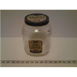"""Blue Ribbon Coffee Jar - 8.5"""" Tall"""