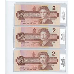 x3 1986 two dollar bills