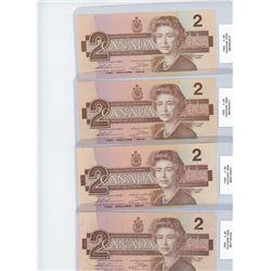 x4 1986 two dollar bills