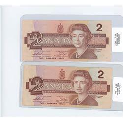 x2 1986 two dollar bills