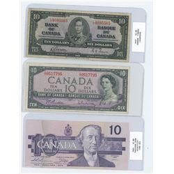 x3 ten dollar bills from various years
