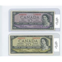 1954 ten dollar bill/ 1954 twenty dollar bill