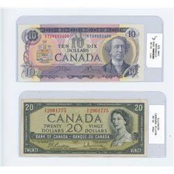 1971 ten dollar bill/ 1954 twenty dollar bill