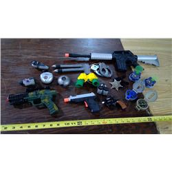 Toy Guns, Sheriff's Bade, Handcuffs, and Spy Gear