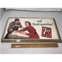"""1957 Cardboard 7Up Ad - 11""""  21"""""""