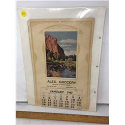 2 Alex, Grocery Calendars - January 1947