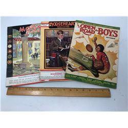 "3 Magazines: 1 - Open Road for Boys (Nov. 39), 1 ""Moose"" (Oct. 31), 1 ""Moose Heart"" (1929)"