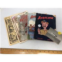 "5 Magazines - 3 ""Airflow,"" 1 -1943 and 2 -1944/ 2 ""Desert Rat Scrapbook"
