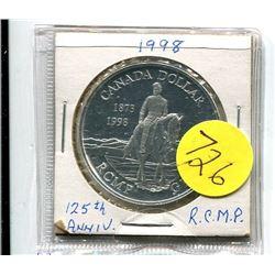 1998 - canada silver dollar - 125th anniversary RCMP - .75 troy oz silver