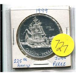 1999 - canada silver dollar - 225th anniv. Voyage of Juan Perez - .75 troy oz silver