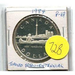 1984 - canada silver dollar - Toronto Sesquicentennial - .375 troy oz silver