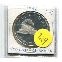 1986 - canada silver dollar - Vancouver Centennial - .375 troy oz silver