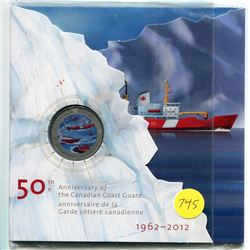 1962-2012 - 50th anniversary of the canadian cost guard .25 cent coin