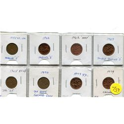 eight canadian one cent error coins