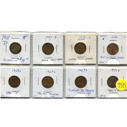 eight united states one cent error coins