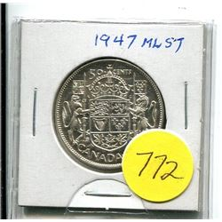 1947ml-S7 - canada silver fifty coin