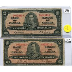 2x 1937 Bank of Canada Two Dollar Note