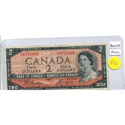 1954 Bank of Canada Two Dollar Note - Devil's Face