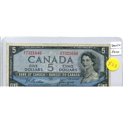 1954 Bank of Canada Five Dollar Note - Devil's Face