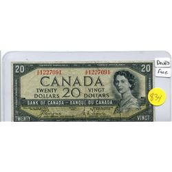 1954 Bank of Canada Twenty Dollar Note - Devil's Face